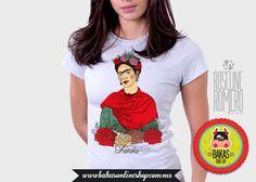 Playera T-shirt Frida Kahlo serigrafía digital directa a la tela de bakasonlineshop en Etsy