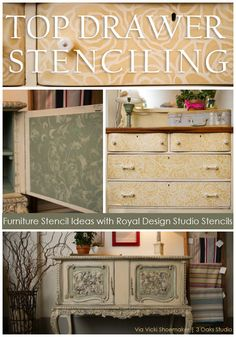 Furniture Stenciling Ideas with Chalk Paint® decorative paint by Annie Sloan stockists Royal Design Studio and 3 Oaks Studio on the Stencil Ideas Furniture inspiration furniture arrangement idea Paint Furniture, Furniture Projects, Furniture Makeover, Annie Sloan, Decoupage, Repurposed Furniture, Refurbished Furniture, Antique Furniture, Modern Furniture