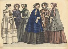 January1852 Originally published in:Stockholms mode-journal. Six women in more or less formal dresses, worn under coats.