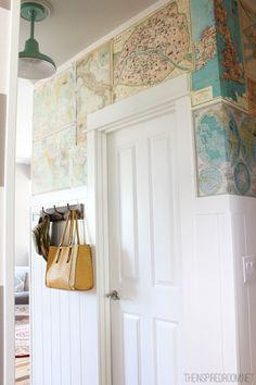 Love this DIY Map Wallpaper!!
