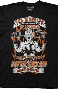 """Dragon Ball Z Super Saiyan T-Shirt:  You can show everyone that the Super Saiyan is more than just a legend with this tee. This shirt shows the warrior you've heard of in legend Goku, also known as Kakarot in the the advanced Super Saiyan transformation stage. The shirt features a Goku quote from the season 1 episode titled """"The Angry Super Saiyan! Throw Your Hat in the Ring, Son Goku!"""". This Dragon Ball Z Super Saiyan t-shirt is the perfect shirt to wear to the World Martial Arts…"""