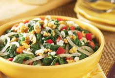 How creative...this recipe takes all the great flavors of your favorite spinach salad and warms them up to make a savory side dish. Give it a try...it's delicious.