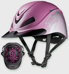 Embrace your edgy side with Troxel's new Liberty Pink Antiquus helmet with pink cheetah print headliner! #helmet