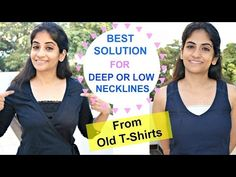 Best Solution for Low and Deep Necklines Using Old T-shirts: Light & Comfortable Fix Clothing, Clothing Hacks, Make Your Own Clothes, Diy Clothes, Refashioned Clothes, Mom Birthday Crafts, 80th Birthday, Birthday Quotes, Birthday Gifts