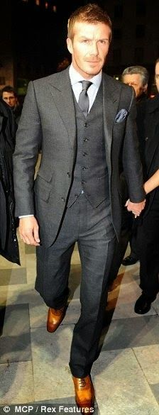 Grey 3-piece suit and brown shoes LOVE