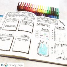 This week is coming to a close and my weekly is nicely filled out! Also, loving my new 42 pack of triples fineliners Bullet Journal Hacks, Bullet Journal Spread, Bullet Journal Water Tracker, Bullet Journals, College Problems, Journal Layout, My Journal, Journal Ideas, Blank Journal