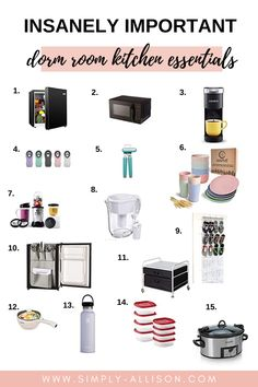Wow this dorm kitchen essential post is awesome. She included everything you would need for your dorm room kitchen food, organization, and appliances. College Dorm Essentials, Room Essentials, Kitchen Essentials, College Packing, Dorm Room List, Dorm Room Food, Dorm Rooms, Dorm Kitchen, Dorm Room Necessities