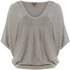 Phase Eight Agatha Double Layer Knitted Jumper, Grey Marl (570 DKK) ❤ liked on Polyvore featuring tops, sweaters, short sleeve sweater, layered sweater, gray v neck sweater, patterned sweater and short sleeve tops