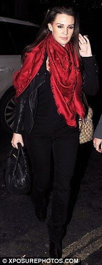 all black with a Louis Vuitton red monogram shawl as a pop of colour <3