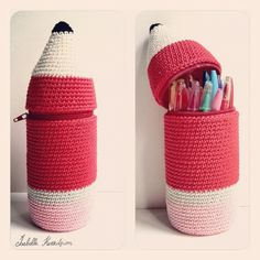 Isabelle Kessedjian: The serial crocheteuses: a kit for my Bic crochet pencil case Crochet Pencil Case, Crochet Case, Crochet Purses, Crochet Gifts, Cute Crochet, Crochet Toys, Diy Tricot Crochet, Crochet Accessories, Plastic Bottles