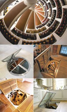 A mini wine cellar: Spiral Cellars installs cool turnkey wine cellars just about anywhere in and around the home. You can even opt to blend the trap door with the existing floor (for that clandestine effect). They build a spiral that's got the wine bottles stored around the periphery. Probably costs a fortune, and the company is in the UK. I can dream, can't I? See the web site http://www.spiralcellars.co.uk/