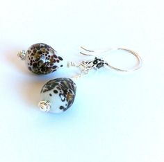 Hand Blown Glass Bead Jewelry Bridal by ClearWaterDesignsbyK Https://clearwaterdesignsbyk.etsy.com Https://clearwaterdesigns.info These pretty 925 Sterling Silver Earrings are perfect for all your Holliday Outfits! The ear wire have pretty little stars on them. The Hand blown Glass Tear Drop Beads are Contemporary Colours-white, brown & copper/champagne glittery speckles.