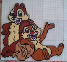 Chip & Dale - Disney hama beads by Deco. Melty Bead Patterns, Pearler Bead Patterns, Perler Patterns, Beading Patterns, Disney Hama Beads Pattern, Hama Beads Design, Diy Perler Beads, Perler Bead Art, Pearler Beads