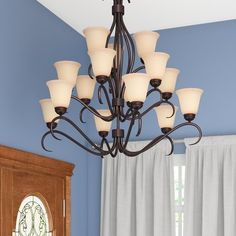 Charlton Home Wehr 15 - Light Shaded Classic / Traditional Chandelier Finish: Wilshire with Oil Rubbed Bronze Shade Wagon Wheel Chandelier, Globe Chandelier, 5 Light Chandelier, Chandelier Shades, Chandeliers, Light Fixture, Tuscan Decorating, Globe Lights, Bedroom Lighting
