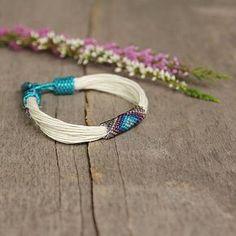 Organic linen bracelet ethnic colorful bracelet by Naryajewelry Bead Loom Bracelets, Woven Bracelets, Colorful Bracelets, Bracelets For Men, Seed Bead Jewelry, Beaded Jewelry, Beaded Necklace, Seed Beads, Bold Necklace