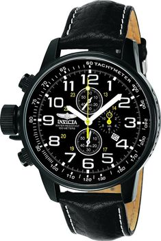 Buy Invicta Men's 3332 Force Collection Stainless Steel Left-Handed Watch with Black Leather Band at Discounted Prices ✓ FREE DELIVERY possible on eligible purchases. Best Watches For Men, Cool Watches, Wrist Watches, Sport Watches, Citizen Watches, Women's Watches, Watches Online, Luxury Watches, Left Handed Watch