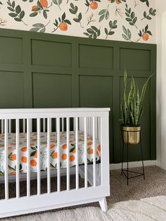Green and clementines baby girl nursery baby room nursery decor Nursery Themes, Nursery Room, Girl Nursery, Girl Room, Nursery Decor, Nursery Ideas, Nursery Furniture, Wall Decor, Nursery Paintings