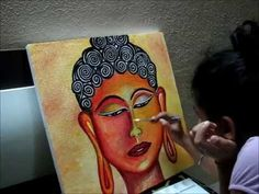 Creating Buddha with acrylics on canvas board. Canvas Board, Indian Gods, Doodle Art, Art Tutorials, Drawing Sketches, Murals, Happiness, Tattoos, Creative