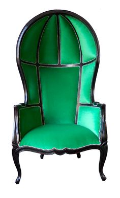 Large Grand Porter's French Canopy in Emerald Green Chair- Affordable Luxury! Green Furniture, Funky Furniture, Unique Furniture, Furniture Decor, Victorian Furniture, Furniture Makeover, Porter Chair, Interior Design Chicago, Architecture Restaurant