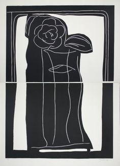 Linoincisione - Joan Hernandez pijuan - Gerro amb flors / Vase with Flowers