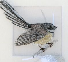Gary Clarke Designs include embroidery, candlewicking, silk embroidery, organza embroidery, and cotton crewel. by edna Silk Ribbon Embroidery, Embroidery Applique, Cross Stitch Embroidery, Cross Stitch Patterns, Machine Embroidery, Embroidery Designs, Embroidered Bird, Textile Fiber Art, Thread Painting