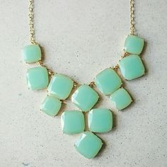 "Mint square drop statement necklace New will ship out within 1-2 business days. 18-21"". Inspired kate spade Jewelry Necklaces"