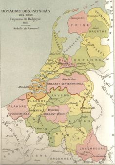 MAP OF BELGIUM AND THE NETHERLANDS BETWEEN 1815 AND 1830. AUTHOR- GOCHET, ALEXIS-MARIE (1835-1910).