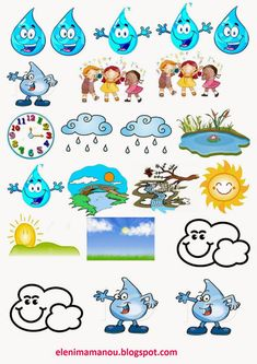 Ελένη Μαμανού: O Kύκλος του νερού Feelings Chart, Fruit Cartoon, Water Day, English Activities, Preschool Education, Water Cycle, Environmental Education, Learning Tools, Classroom Decor