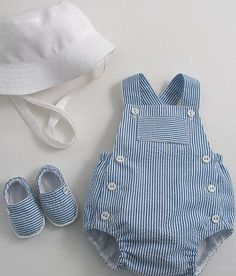 Striped Seersucker Sunsuit - Patricia Smith Designs