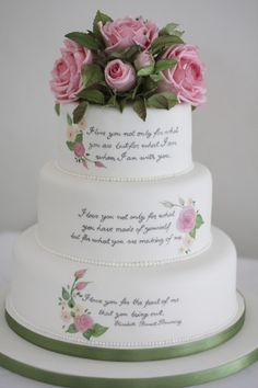 use your favorite Jane Austen quote for this cool cake idea // pride & prejudice wedding