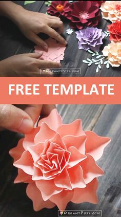 This is free template for DIY paper flower easily Silhouette Cameo, Silhouette Machine, Free Paper Flower Templates, Diy Paper, Paper Crafts, Create And Craft, How To Make Paper, Flower Tutorial, Flower Making