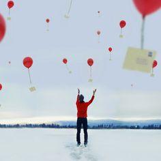 rojo red globo balloon mensaje message photography fotografía miraquechulo