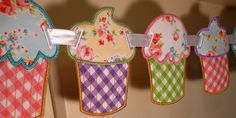 """Cupcake Banner In The Hoop Banner Machine Embroidery Design Applique Patterns all done In-The-Hoop 2 variations 5 sizes 4"""", 5"""", 6"""", 7"""", 8"""". $4.95, via Etsy."""