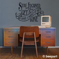 motivational quote wall decal, office vinyl sticker art- WARNING cuss word present, victorian, art nouveau