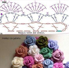 Watch The Video Splendid Crochet a Puff Flower Ideas. Phenomenal Crochet a Puff Flower Ideas. Crochet Puff Flower, Crochet Flower Tutorial, Crochet Leaves, Crochet Flower Patterns, Crochet Designs, Crochet Flowers, Knitting Patterns, Crochet Chart, Crochet Motif