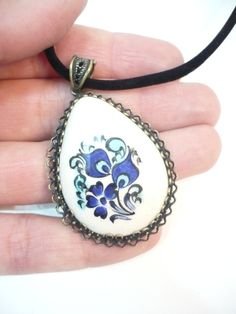 Hand painted tile pendant - bronze bezel /Turkish Iznik tile art / floral pattern handmade ceramic necklace / unique gift / FREE SHIPPING! by TurkishAccessories on Etsy