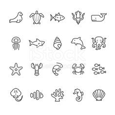 Sea Life and Ocean animals vector icons royalty-free stock vector art                                                                                                                                                      More