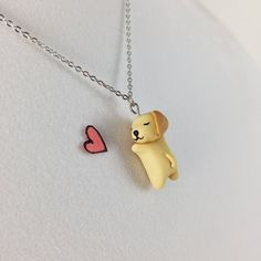 Dog Necklace // Polymer Clay Charm Necklace // Golden Retriever Cute Charm // Dog Jewelry Gift for Her // Dog Lover Gift by CrownedClay on Etsy