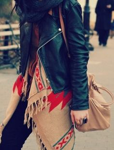 Lots of lovely layers are a must for keeping the cold away!  #style #fashion #autumn #fall #winter #trend #layers #leather #scarf #leatherjacket