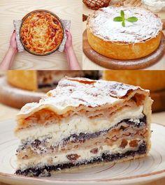 sweet cottage cheese pie in the oven- сладкий пирог с творог… Pie Recipes, Sweet Recipes, Baking Recipes, Photo Food, Cheese Pies, Good Food, Yummy Food, Sweet Pie, Dessert Bread
