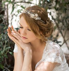Bridal beaded crown, beads flowers tiara, bride halo, wedding hair jewelry, brides hair piece. The Ambrosia headpiece.