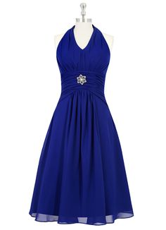 The Azazie Madeleine is a sweet bridesmaid dress that's flattering for all body types and perfect for any outdoor wedding. It features a halterneck, ruched detailing on the bodice with a ornate floral rhinestone applique, and is cut to a knee-length with delicate pleating. Available in 24 colors, seen here in Royal Blue.