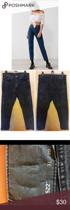 Levi's vintage high waisted black acid wash jeans CONDITION: Nearly New Condition  COLOR: Dark WASH SIZE: 31 WAIST:  INSEAM: 30 MATERIAL: 100%cotton Levi's Jeans Straight Leg