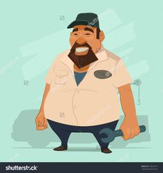 Funny Male Mechanic Holding A Wrench, Cartoon Character, Vector Illustration - 373622167 : Shutterstock