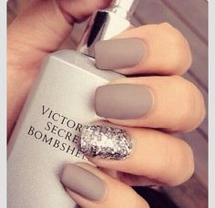 Perfect use of just the right amount of glitter on grey | Check out http://www.nailsinspiration.com for more inspiration!
