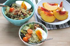 Pesto Quinoa Bowls with Poached Eggs