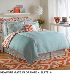 The eye catching Jill Rosenwald Newport Gate Reversible Duvet Cover brings a mix of whimsical designs and vibrant hues to your bed. The slate blue bedding features white embroidered panels, blue swirled prints, and a touch of orange for a lively look. Orange Bedding, Bedroom Orange, Blue Bedding, Newport, Inspiration Design, My New Room, Dream Bedroom, Bedding Collections, Comforter Sets