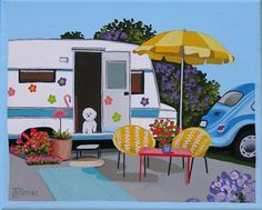 BICHON BY THE CAMPER Little white fluffy dog in his trailer home. Mid Century modern living. This is a limited edition (200 prints) print by Linda Tillman. It is a print of an original gouache painting. Prints are all printed on archival matte paper. They are printed with a Canon iX6500 printer. It has a border. The edges of the composition fade softly into white as they do on the original painting. The print will fit a standard pre-cut matte for easy framing. The size is 8 x 10 inches Ea...