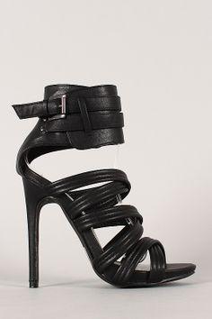Olive-9 Strappy Open Toe Ankle Cuff Stiletto Heel