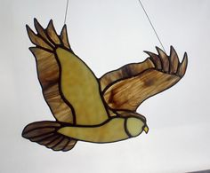 Horned Owl Stained Glass Bird Wildlife art Owl by BerlinGlass